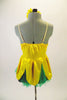 2-piece costume comes with dark green shorts &  yellow flower themed camisole dress with petals & a soft green underlay. Has yellow gerbera daisy hair clip. Back