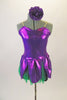 2-piece costume comes with dark green shorts & purple flower themed camisole dress with petals & soft green tricot underlay. Has purple pansy hair accessory. Front
