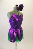 2-piece costume comes with dark green shorts & purple flower themed camisole dress with petals & soft green tricot underlay. Has purple pansy hair accessory. Side