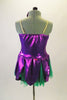 2-piece costume comes with dark green shorts & purple flower themed camisole dress with petals & soft green tricot underlay. Has purple pansy hair accessory. Back
