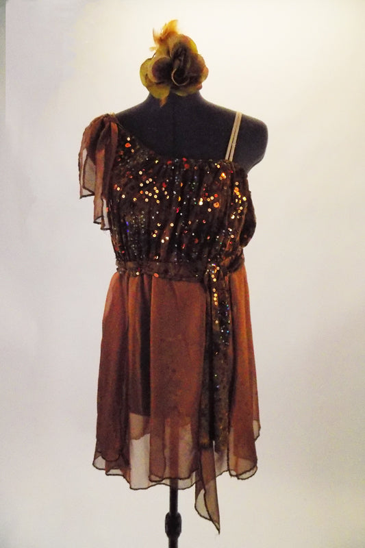 Single one shoulder dress with nude strap has shades of rich chocolate brown and sequined bodice and soft flowy chiffon shirt with built-in shorts. Comes with chiffon shoulder accent, sequined sash belt and floral hair accessory. Front