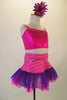 This sweet two-piece costume has pink half a top with crystal accents at front and back. The accompanying skirt has tone on tone pink striped patterns with a wide pink and purple tulle ruffle edge. Comes with pink/purple daisy hair accessory, Side