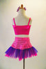 This sweet two-piece costume has pink half a top with crystal accents at front and back. The accompanying skirt has tone on tone pink striped patterns with a wide pink and purple tulle ruffle edge. Comes with pink/purple daisy hair accessory. Back