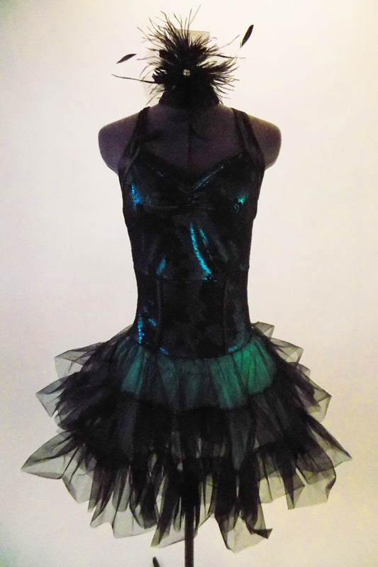 Teal based leotard dress has black laced, overlay bodice with pinch front. The halter collar has wide back straps emerging from the back collar. The layered ruffle black tulle skirt gives the costume volume and a balletic touch. Comes with matching black feather hair accessory. Front
