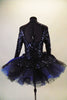 3-piece costume is a navy/royal blue full sequined leotard with long sleeves & key-hole back. The leotard is accompanied by navy shorts with sequin & chiffon cascading sashes at the right hip. There is a pull-on tutu skirt with stiff black & blue tulle layers with a sequined overlay. Comes with hair accessory. Back