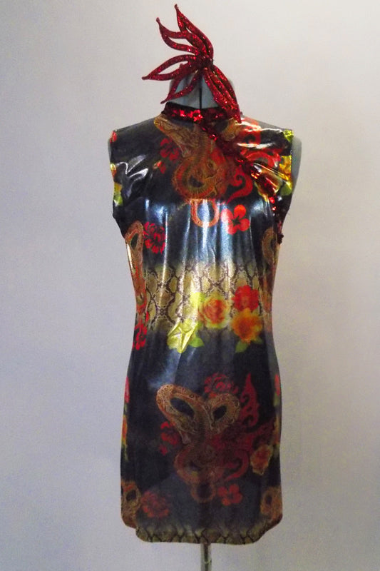 Shimmery sheer Asian inspired dress has a dragon, rose and lotus flower print with red sequin accent. Comes with a black bra top, brief hair accessory. Front