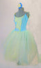 Romantic tutu dress has a pale blue bodice with blue and yellow lace front panel accented with sequined ruffle. The full tulle skirt has layers of pale blue, green and yellow for a soft pleasant flowy look. Comes with matching floral hair accessory. Side