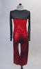 Two-piece costume has a long mesh sleeved top with sheer black upper and metallic red bodice with angled bust-line and crystal accents. The matching red pull-on pants complete the look. Back