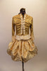 "Baroque gold ballet costume has gold brocade over-lay that reveals a ruffled petticoat. The gold 3/4 sleeved top has brocade ruffle & gold bows. The front bodice has princess cut ""V"" front with peplum and brocade center panel accented with gold bows and grommet back lace back. Back"