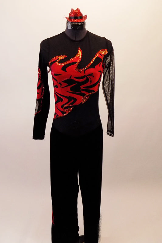 Long sleeved black mesh unitard has red flame accents on the bust, back and sleeves. The pant portion is a straight cut black velvet and the unitard zips at the back. Comes with red mini hat accessory. Front