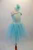 Delicate pale aqua romantic tutu dress has a single shoulder sparkle bodice with sequined trim and butterfly sleeves. Multiple layers of soft aqua tulle comprise the skirt. Comes with a floral hair accessory. Right side
