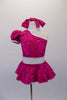 Sweet fuchsia sequined dress has a single shoulder with pouffe sleeve and attached white choker collar. The open shoulder has white shoulder straps that match the white crystalled waistband. Comes with matching sequined hair tie. Front