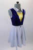 Naval themed two-piece costume has a royal blue metallic effect leotard with triangular gold inlay at bust. The white naval collar compliments the accompanying knee length skirt with crystal anchor detail. Comes with matching captain's hat. Side