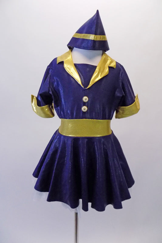 Shiny navy flight attendant themed dress with buttons has gold lapels, cuffs and waistband. The matching attendant hat is a perfect accessory to complete the flight theme. Front