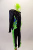 Long sleeved full unitard is a black base with crystal sunburst design on the bodice. The sides from arms to legs are a marbled pattern of mixed blues and greens with green organza ruffle extending from the hips down the length of both legs. Comes with green feather hair accessory. Right side