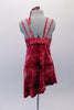 Crushed velvet dress in shades of brick red, has a crystal-lined bust area and double straps Comes with matching brief and tie hair accessory. Back