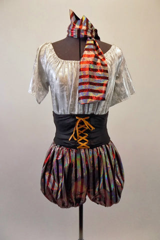 Pirate themed costume comes with silvery white short-sleeved blouson top and burgundy silver striped bloomer shorts. The pull-on black stretch belt has a faux gold laced corset accent. Comes with a matching striped head scarf.  Front