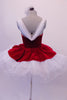Gorgeous red velvet tutu has a red leotard base with white boning & princess cut. The neckline is draped with white chiffon that joins at the center of the back.  The skirt is comprised of a white tulle pull-on tutu with chiffon & red velvet overlay. Comes with white floral hair accessory & clear straps. Back