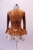 Beautiful caramel coloured Victorian style long sleeved velvet dress has a delicate paisley pattern and faux front boning. The trumpet sleeves and peplum waist are edged in layers of wide ivory lace. Can be used on its own or over top of a platter tutu. Back