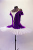 Purple velvet and white ballet bodice with attached overlay has off-shoulder pouffe sleeves and a white and gold center inlay with pearl accent. The attached overlay is an open-front peplum that can be tacked onto a tutu. Side