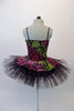 Pretty black pleated six-layer platter tutu has an attached bodice and overlay adorned with a glittery rose floral pattern in shades of pink, green and fuchsia. Comes with a green floral hair accessory. Back