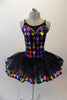 Pleated six-layer platter tutu has an attached bodice and overlay.  The colourful harlequin bodice has a faux sweetheart neckline lined with crystals and a wide matching harlequin trim in the black overlay. Comes with a crystal hair accessory. Front
