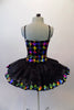 Pleated six-layer platter tutu has an attached bodice and overlay.  The colourful harlequin bodice has a faux sweetheart neckline lined with crystals and a wide matching harlequin trim in the black overlay. Comes with a crystal hair accessory. Back