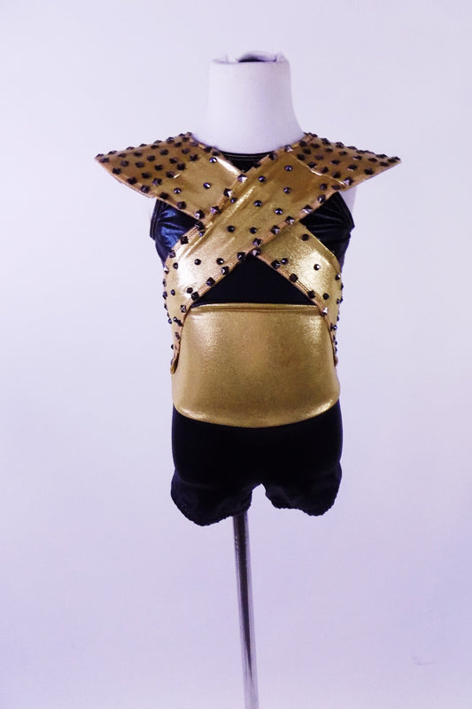 Short black and gold unitard has a black crystalled cross-over Egyptian Pharoh collar with padded shoulders. The large open keyhole back is a nice feature. Comes with a hair accessory. Front