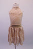 Pretty nude based ivory rose lace halter dress has an open back and gold crystal accents along the waistband. Perfect for a lyrical routine. Comes with a floral hair accessory. Front