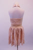 Pretty nude based ivory rose lace halter dress has an open back and gold crystal accents along the waistband. Perfect for a lyrical routine. Comes with a floral hair accessory. Back