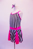 Sweet black and white vertical striped dress had bright pink inlays in the skirt, a pink waistband and crystal crystal-lined, pink binding. The front of the dress is lined with Swarovski crystals as are the triple back straps. Comes with matching striped hair bow and pink gauntlets. Side