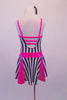 Sweet black and white vertical striped dress had bright pink inlays in the skirt, a pink waistband and crystal crystal-lined, pink binding. The front of the dress is lined with Swarovski crystals as are the triple back straps. Comes with matching striped hair bow and pink gauntlets. Back