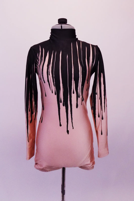 Uniquely creative nude based short unitard has long sleeves high neck and small keyhole back. The costume appears to have black paint or melted wax spilling down from the neck running and dripping down the torso. Front