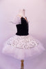 Pleated, hand tacked pancake tutu is a beautiful contrast of black & white. The tutu is scattered with crystals & has a silver sequined overlay. The black velvet bodice has a deep sweetheart cut with nude mesh centre & hand painted silver branch design. Comes with white tulle armbands and crystal hair barrette. Right side