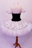 Pleated, hand tacked pancake tutu is a beautiful contrast of black & white. The tutu is scattered with crystals & has a silver sequined overlay. The black velvet bodice has a deep sweetheart cut with nude mesh centre & hand painted silver branch design. Comes with white tulle armbands and crystal hair barrette. Back