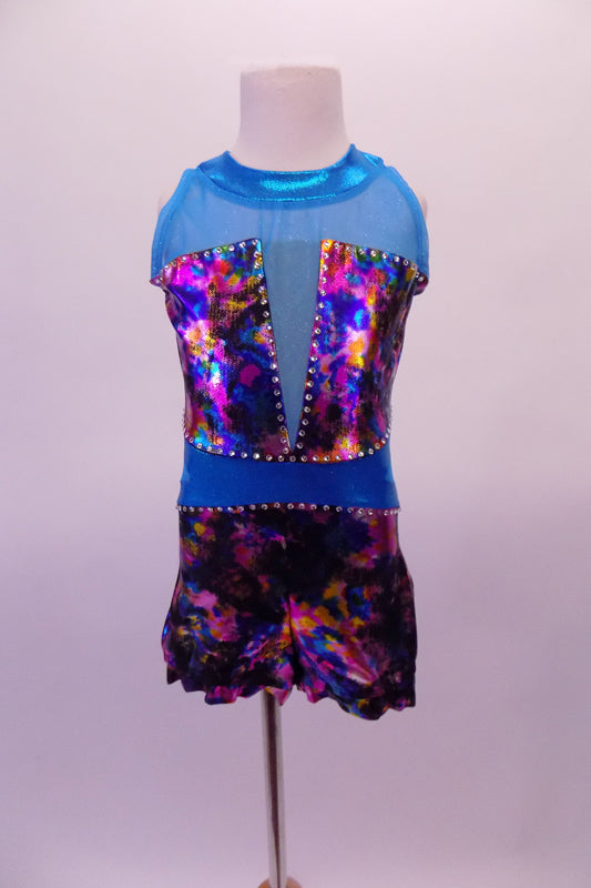Teal short unitard is a mix if iridescent fuchsia, blue charcoal and amber with teal sheer mesh at shoulders and deep V front. The waist and collar band are solid teal and the back has a keyhole opening. Large crystals line the entire bust and waist area. Comes with a hair accessory. Front