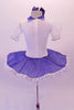 Cute white pancake tutu has a white velvet bodice with pouffe sleeves and blue collar. The skirt overlay is a denim with lace edging that matches the tartan tie. Comes with blue hair bow accessory. Back