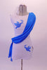 Short white tunic dress has hand-painted blue doves with an olive branch in the right bust and left hip. A blue sash cascades from left shoulder, across the torso to the right hip. Comes with white brief and hair accessory. Front