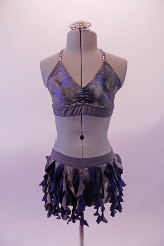 Grey and blue two-piece costume has a spiral ruffle skirt and matching bra top. The top has a halter neck and back double triangular straps covered in a double row of clear crystals for a stunning glow. Comes with crystal hair barrette. Front