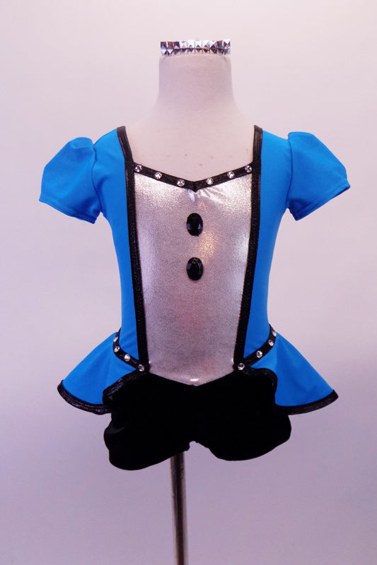 Turquoise peplum dress has a silver center with black jewelled buttons and crystalled black piping. There is a large black bow accent at the front for the peplum. The center of the back is silver with a black faux corset design. Comes with short black gauntlets and silver hair barrette. Front
