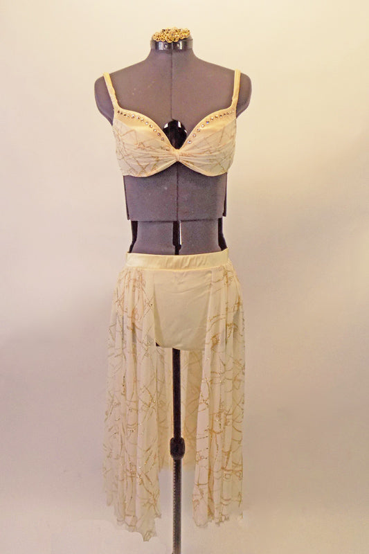 Off-white and gold two-piece costume has a satin underwire bra lined with crystal accents and gently pleated gold and ivory chiffon. The bottom is an ivory brief with attached long, open-front gold and ivory long soft skirt. Comes with a gold hair accessory. Front