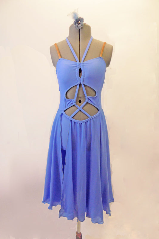 Pale blue leotard dress has an open torso with crossed straps that retain the closed shape. The attached long chiffon skirt is open on the side to reveal the brief beneath. The straps extend along the front and tie around the back of the neck. Nude straps reinforce the shoulder.  Comes with a floral hair accessory. Front