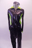Two-piece hip-hop costume has shiny drop-crotch pants and a matching jacket. The jacket has zip front with neon green sides and collar with faux zipper painted accents at the front and back. Comes with shades. Front