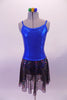 Shiny blue princess cut leotard dress has a low scoop back and an attached sheer black skirt with iridescent sequin detail. Simple yet pretty as a base of finished costume. Comes with a gold hair accessory. Front