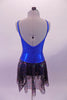Shiny blue princess cut leotard dress has a low scoop back and an attached sheer black skirt with iridescent sequin detail. Simple yet pretty as a base of finished costume. Comes with a gold hair accessory. Back
