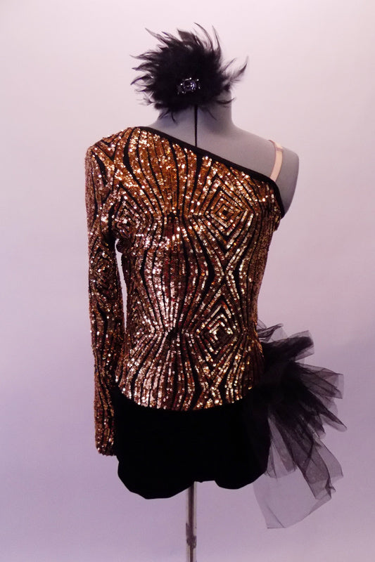 Short unitard is a single shoulder long sleeve torso with a black bottom. The top is a stunning geometric design of gold sequins that highlights the single shoulder design. The finishing touch is the tulle pouffe hip bustle on the left hip Comes with matching hair accessory. Front