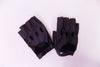 Black leatherette finger-less driving gloves with snap
