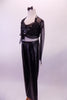 Black leatherette pants with crystal buckle has a matching bra with crystal accents. The black sheer glitter shrug ties at the front over the bra. Comes with leather bow hair accessory. Side