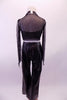 Black leatherette pants with crystal buckle has a matching bra with crystal accents. The black sheer glitter shrug ties at the front over the bra. Comes with leather bow hair accessory. Back