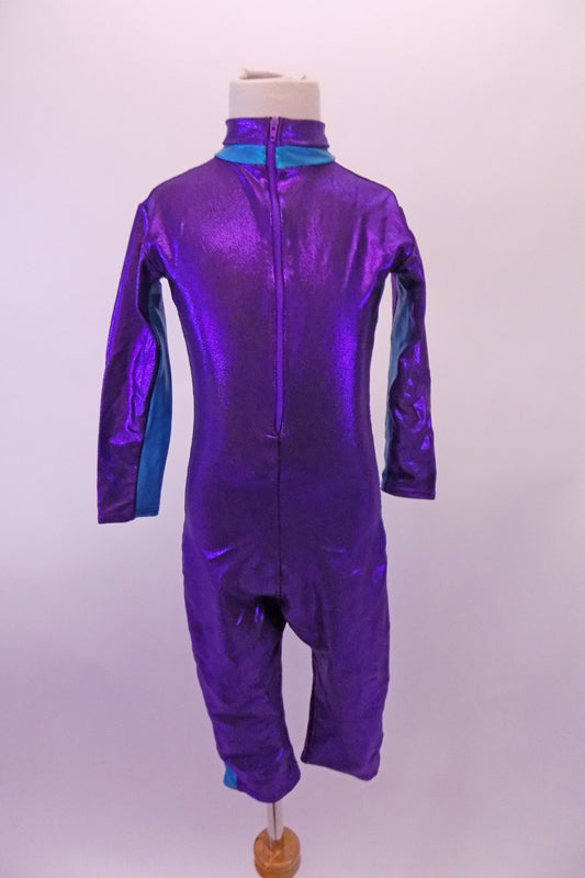 Biker length unitard is a purple metallic diving suit with teal stripe at sides, sleeves and collar.  It zips along the front all the way up to the neck. Comes with teal swimming cap with chin strap and purple sequin flower buttons. Front